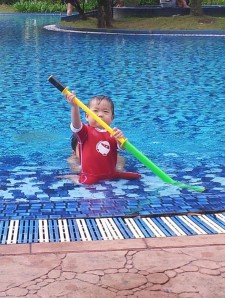 Baby B is a fearless warrior in the pool!
