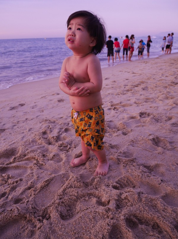When we told him that time was up for sand play, Baby B gave us this awful expression as if it was the end of the world. LOL